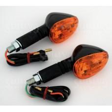 Knipperlichten 'Little Duke' - Lange Steel - Zwart/Oranje